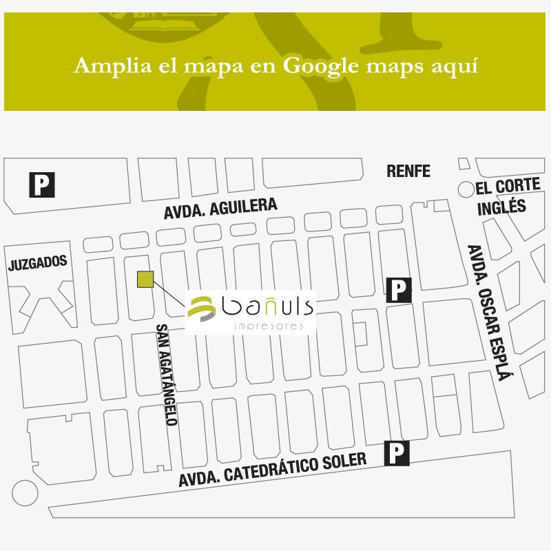 Contacto de imprenta Bañuls en Alicante